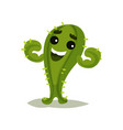 cheerful green cactus showing his biceps vector image