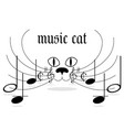 classic music logo cat with notes on a mustache vector image vector image