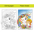 coloring and color unicorn drive a car vector image vector image