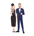 couple in elegant evening clothes standing vector image vector image