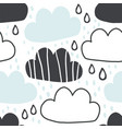 cute hand-drawn endless doodle pattern with clouds vector image