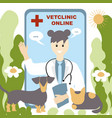 doctor vetclinic online concept in a robe vector image vector image