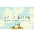 easter banner with a church on a hill sky