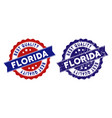 florida best quality stamp with scratched style vector image
