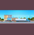 forklift unloading loading semi trailer outdoor vector image