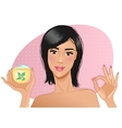 Girl with cream in hand vector image vector image