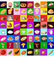 great set various food 64 objects vector image