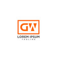 gw negative space logo vector image vector image