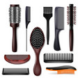 hair brush hairstyling comb or hairbrush vector image vector image