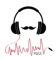 Headphones with red cord Moustaches Music card vector image vector image
