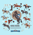 horse riding flat composition vector image vector image