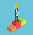 Isometric businessman holding trophy vector image