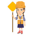 little caucasian builder girl holding road sign vector image