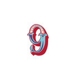 number 9 lettering vector image vector image