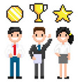 pixel characters with trophy and awards victory vector image vector image