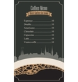 price menu for the cafe vector image vector image