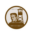 Prisoner of war in a concentration camp with guard vector image vector image