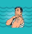 sailor with lorem ipsum tattoo on hand vector image vector image