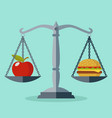 scales with red apple and hamburger showing vector image vector image