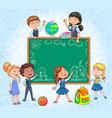school board with cute children around draw vector image