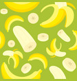 seamless pattern banana and banana peel flat vector image vector image