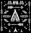 seamless pattern with wigwams arrows and feather vector image vector image