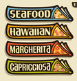 set labels for italian pizza vector image vector image