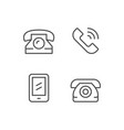 set line icons phone vector image vector image