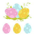 set of colored easter eggs isolated on a white vector image vector image
