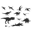 set of different cute cartoon dinosaurs vector image
