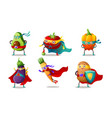 set superhero humanized vegetables in masks and vector image vector image