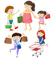 Shoppers with bags and cart vector image vector image