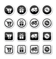 Shopping on internet black icons set with shadow vector image vector image