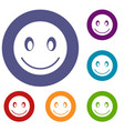 smiling emoticons set vector image vector image