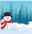 snowscape field with snowman scene vector image