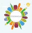 stockholm skyline with color buildings blue sky vector image vector image
