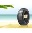summer tire on the hot beach vector image vector image