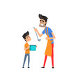 super hero dad cooking food for his son vector image vector image