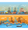 Two Freight Port Horizontal Banners vector image vector image