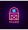 village neon label vector image vector image