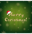 vintage merry christmas card with santa hat vector image vector image