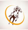 horse race stylized symbol jockey riding a horse vector image
