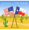 american and texas flags in desert vector image
