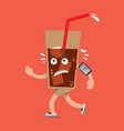 a glass of cola on the run health concept vector image vector image