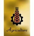 Agriculture emblem with gear and ear vector image