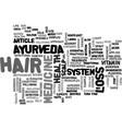 ayurveda can help stop hair loss text word cloud vector image vector image