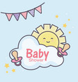 bashower pacifiers sun cloud bunting vector image