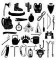 big set camping design elements tourists stuff vector image