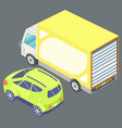 big yellow truck and green passenger car vector image vector image