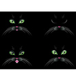 Black Cat Face with Green Eyes vector image